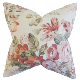 Quela Floral Blush Down and Feather Filled Throw Pillow