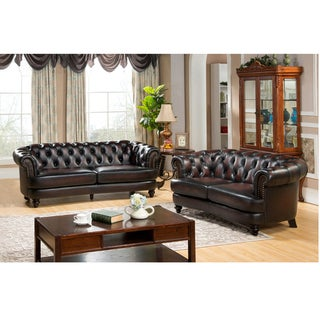 Moore Hand Rubbed Tufted Brown Chesterfield Top Grain Leather Sofa and Loveseat