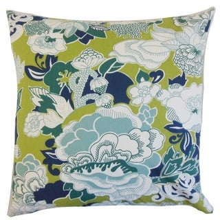 Dariela Floral Aqua Green Down and Feather Filled Throw Pillow