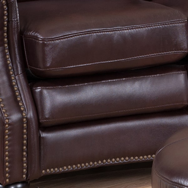 Delta Chocolate Brown Curved Top Grain Leather Sectional Sofa and Ottoman - Free Shipping Today - Overstock.com - 16737801 : leather sectional ottoman - Sectionals, Sofas & Couches