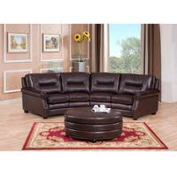 Delta Chocolate Brown Curved Top Grain Leather Sectional Sofa and Ottoman