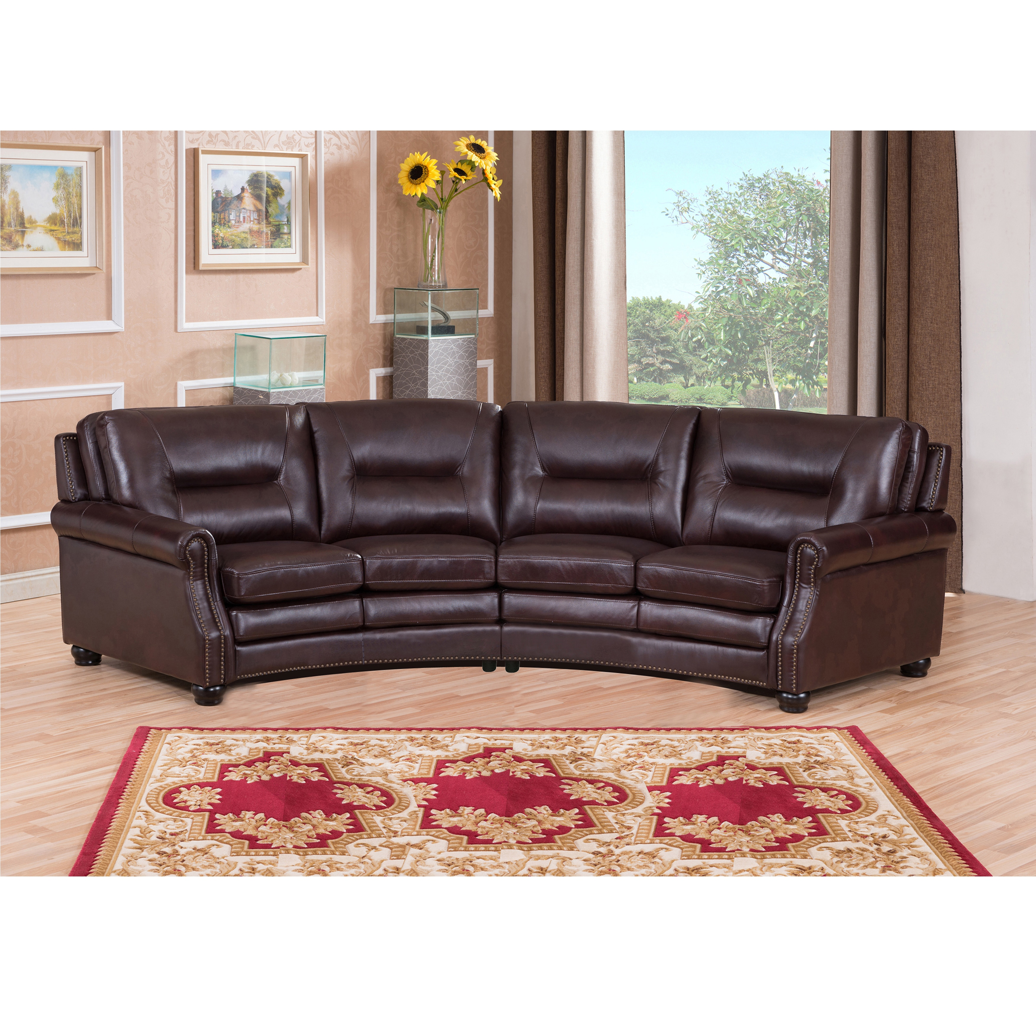 Penn Chocolate Brown Curved Top Grain Leather Sectional Sofa