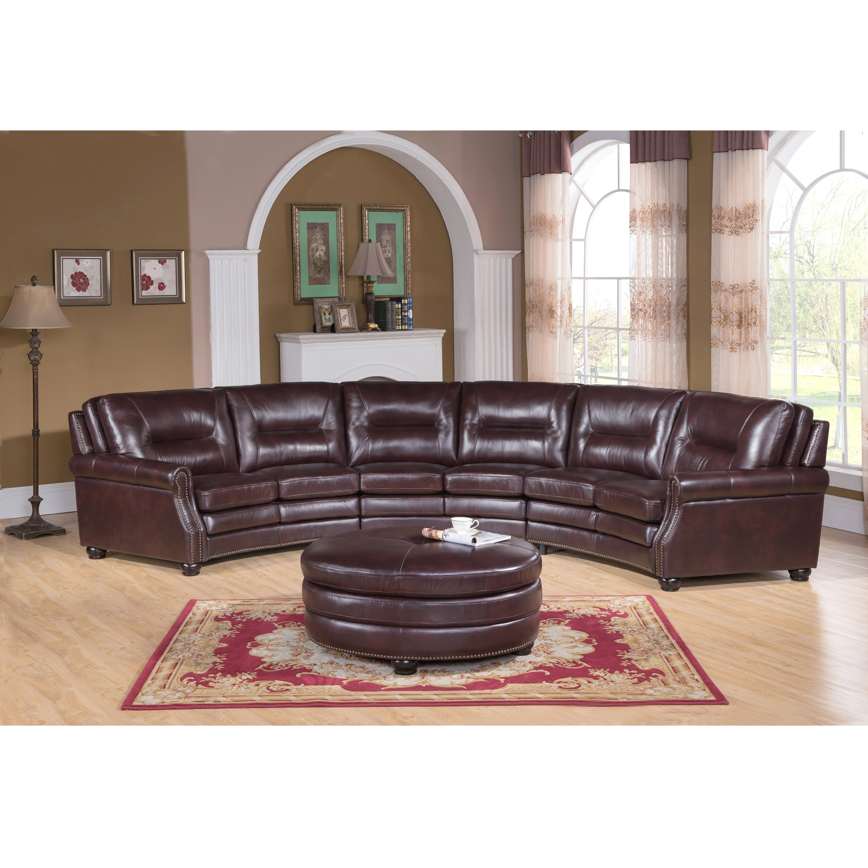 Centro Chocolate Brown Curved Top Grain Leather Sectional Sofa And Ottoman