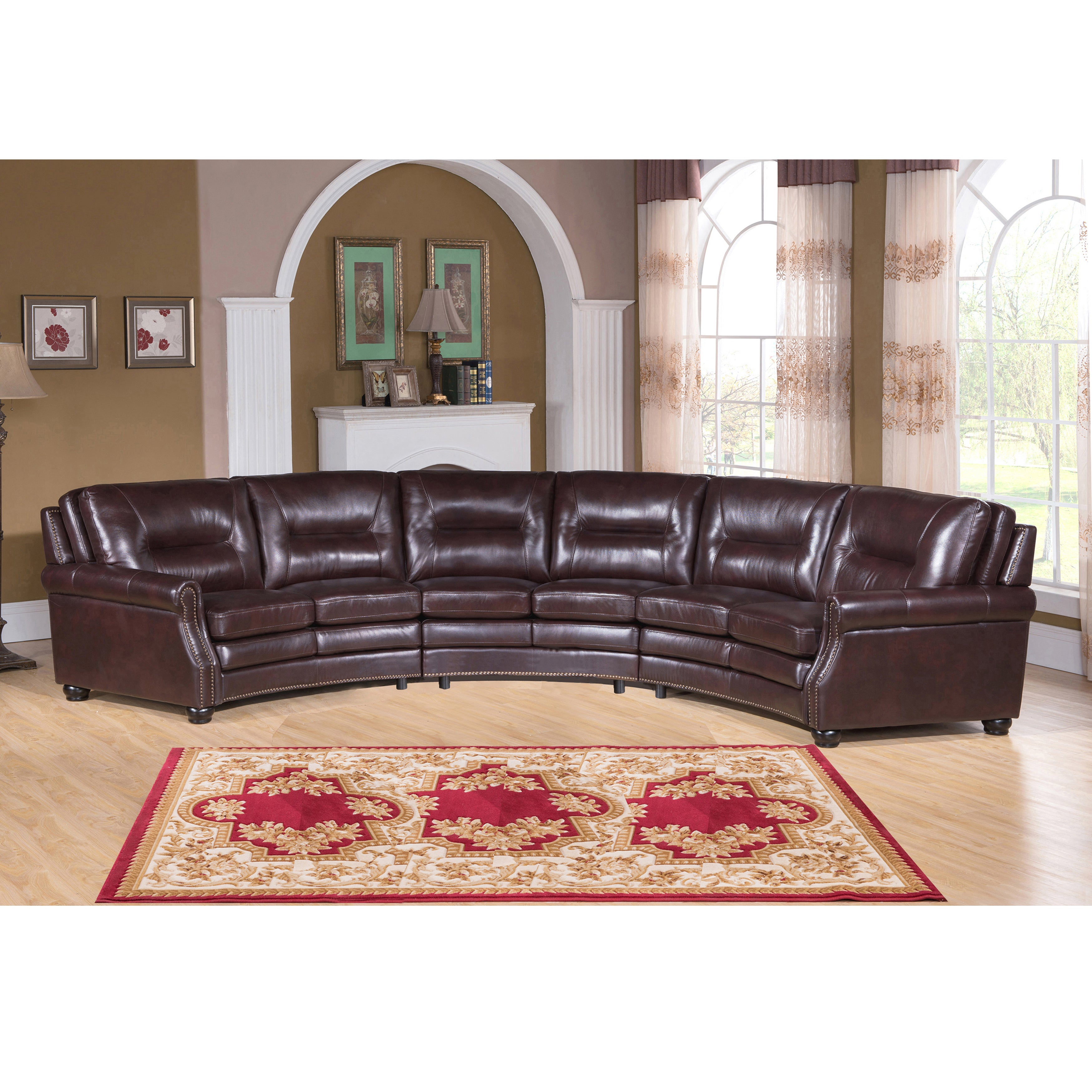 New Traditional Venice Chocolate Brown Curved Top Grain Leather Sectional  Sofa!
