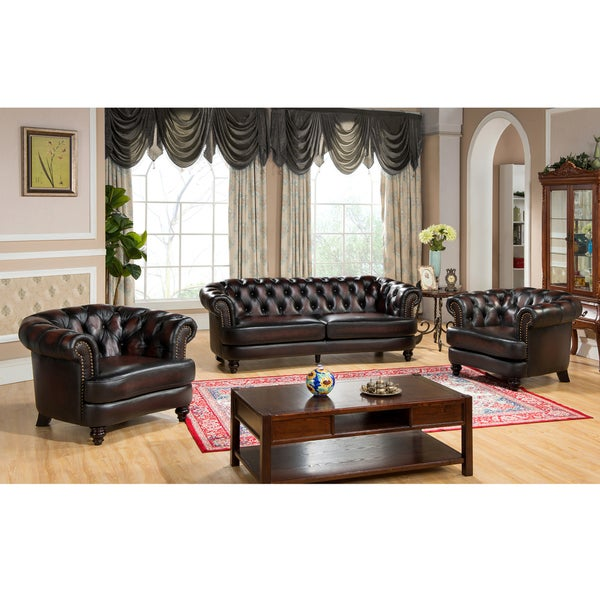 Shop Moore Hand Rubbed Tufted Brown Chesterfield Top Grain Leather Sofa And Two Chairs