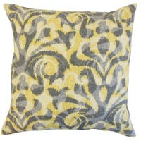 Coretta Geometric Yellow Down and Feather Filled Throw Pillow