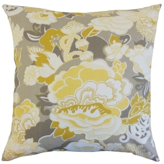 Dariela Floral Yellow Down and Feather Filled 18-inch Throw Pillow