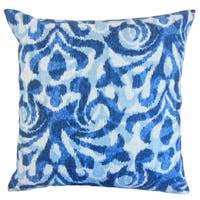 Coretta Geometric Blue Down and Feather Filled Throw Pillow