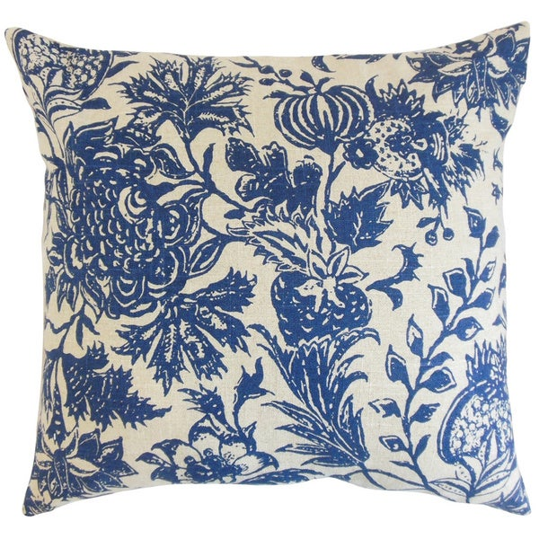 Bionda Floral Blue Down and Feather Filled Throw Pillow