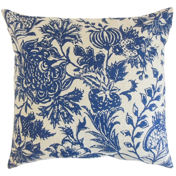 Bionda Floral Blue Down and Feather Filled Throw Pillow - Free Shipping Today - Overstock.com ...
