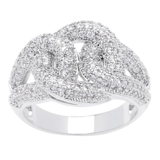 Simon Frank Interlocking Micro Pave Silvertone CZ Ring