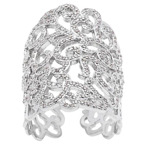 Beautiful Light' Collection Open Lace CZ Ring by Simon Frank Designs - Silver