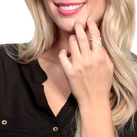 Micro Pave Set Open 'X' Cubic Zirconia Ring by Simon Frank Designs