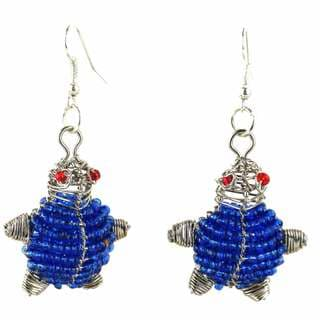 Handmade Beaded Dark Blue Turtle Earrings (South Africa)