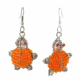 Handmade Beaded Orange Turtle Earrings (South Africa)