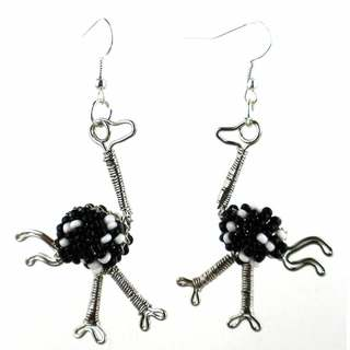 Handmade Beaded Ostrich Dangling Earrings (South Africa)