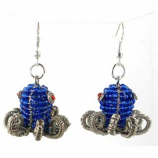Handmade Beaded Dark Blue Octopus Earrings (South Africa)