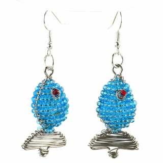 Handmade Beaded Light Blue Fish Earrings (South Africa)