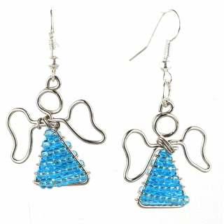Handmade Beaded Light Blue Angel Earrings (South Africa)