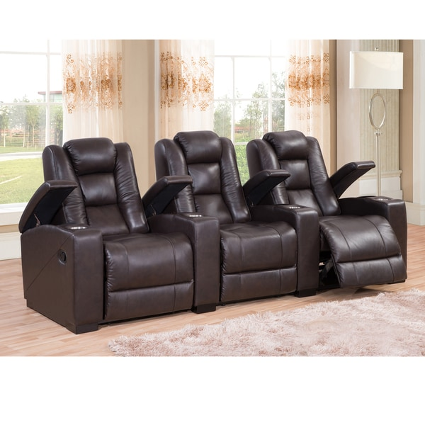 Shop Weston Three Seat Brown Top Grain Leather Recliner Home Theater Seating Set Overstock