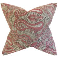 Wystan Damask Red Down and Feather Filled Throw Pillow