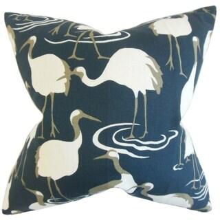 Unai Animal Print Blue Down/ Feather Filled Throw Pillow