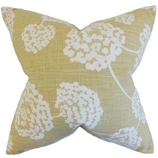 Rafiq Floral Citron Down and Feather Filled Throw Pillow