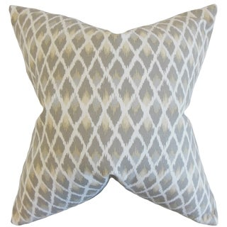 Paxton Ikat Pewter Down and Feather Filled Throw Pillow