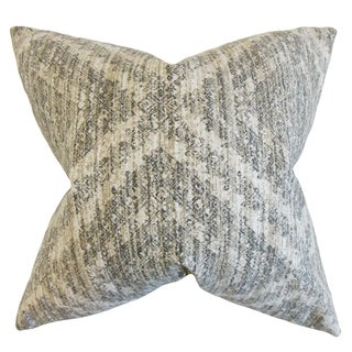 Quarry Geometric Pewter Down and Feather Filled Throw Pillow