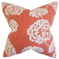 Rafiq Floral Coral Down and Feather Filled 18-inch Throw Pillow