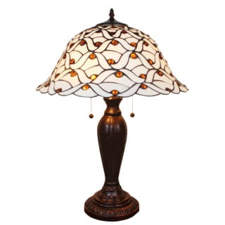 Tiffany-style Jeweled White Table Lamp