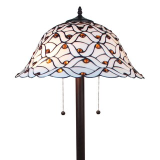 Tiffany-style Jeweled Design Glass Pearl Floor Lamp