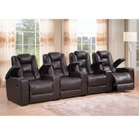 Weston Four Seat Brown Top Grain Leather Recliner Home Theater Seating Set