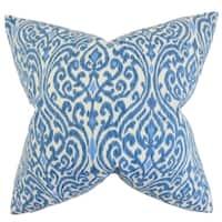 Ennis Ikat Feather Filled Blue Throw Pillow