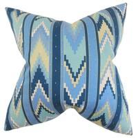 Amadis Geometric Feather Filled Blue Throw Pillow