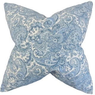Indiana Paisley 18-inch Feather Filled Blue 18-inch Throw Pillow