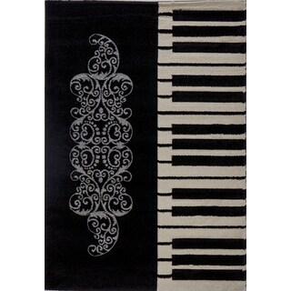 Milano Flowery Piano Key Black Turkish Area Rug (5'3 x 7'3)