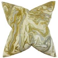 Ceylon Geometric Feather Filled Gold Silver Throw Pillow
