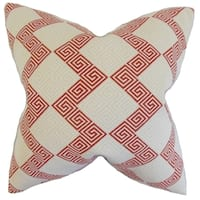 Sandrine Geometric Feather Filled Crimson Throw Pillow
