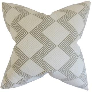 Sandrine Geometric Feather Filled Iron Throw Pillow