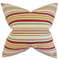 Magaidh Stripes Feather Filled Gold/ Red Throw Pillow