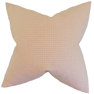 Hye Plaid Feather Filled Orange 18-inch Throw Pillow (18-Inch - Brown)