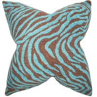 Grady Zebra 18-inch Feather Filled Throw Print Blue Blue 18-inch Throw Pillow