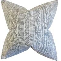 Jem Geometric Feather Filled Greystone Throw Pillow