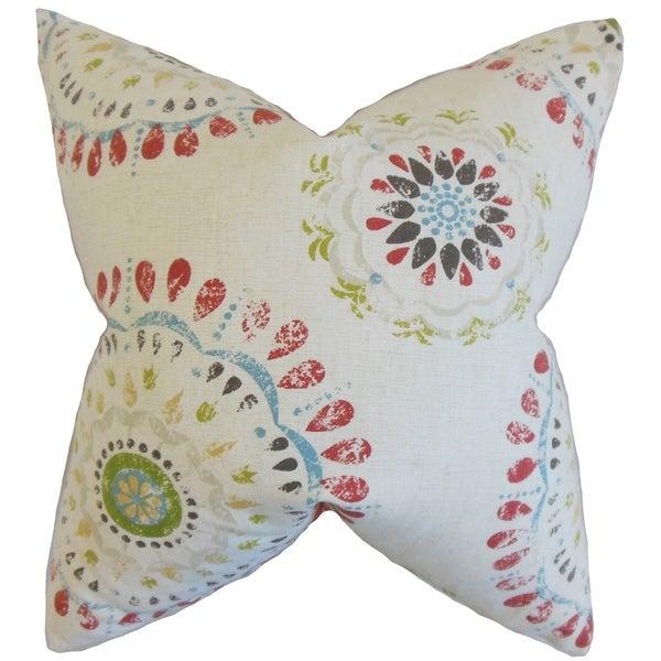 Domain Feather Filled Decorative Pillow : Hali Geometric Feather Filled Coral Throw Pillow - Free Shipping Today - Overstock.com - 16738366