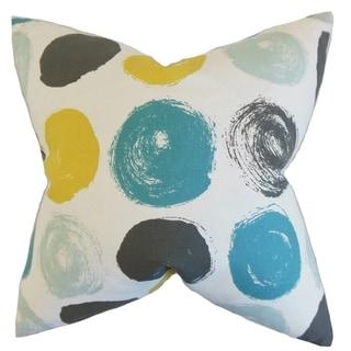 Easton Geometric Feather Filled Blue Dot Throw Pillow