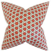 Destry Geometric Feather Filled Red Throw Pillow