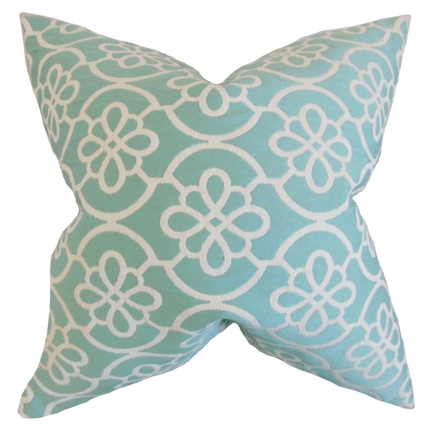 Indre Geometric Feather Filled Caribbean Blue Throw Pillow - Free Shipping Today - Overstock.com ...