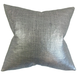 Florin Solid Feather Filled Coal Throw Pillow