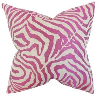 Oluchi Zebra Print Feather Filled Shocking Pink Throw Pillow